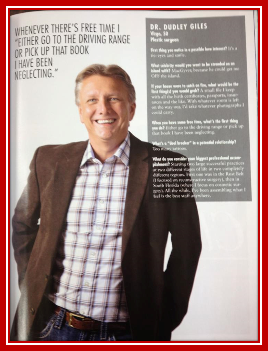 Dr. Dudley Giles Featured in Stuart Magazine.