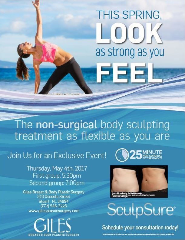 Join Us for an Exclusive Event! Learn more about SculpSure Non-Invasive Body Contouring & Fat Reduction Thursday, May 4th, 2017